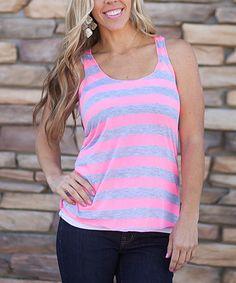Look at this #zulilyfind! Neon Pink & Heather Gray Stripe Racerback Tank by Our World Boutique #zulilyfinds