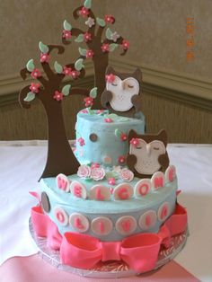 Owl Cake for Baby Shower - Owls, trees, etc for a baby shower.  Made to look like the Pottery Barn nursery linens