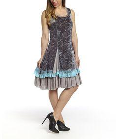 Beige & Turquoise Lace Linen-Blend Dress #zulily #zulilyfinds