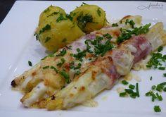 fischis cooking and more: überbackener weißer spargel  mit serranoschinken