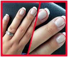 Gel polish manicure for February/Valentine's Day. White tips, thin red line & a little bit of glitter/sparkle.