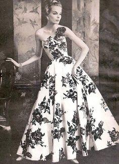 1950 Silk Chiffon Embellished Evening Dress from Saks Fifth Avenue ...