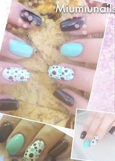 builded gel nail , sky blue , white and black colour , dotty nail design