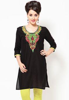 Round Neck 3/4Th Sleeve Neck Embroidered Black Kurta #MyYDHDLook