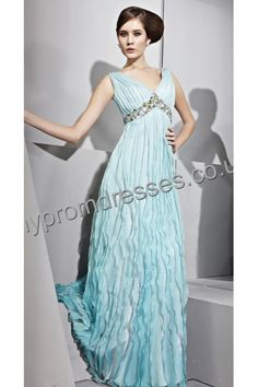 Floor Length V-neck Blue Drape Chiffon A-line Evening Dress  http://www.mypromdresses.co.uk
