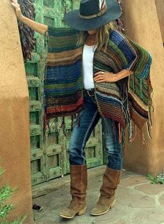 Crochet Patterns Poncho Hip Length Knitted Womens Bohemian Festival Hippie by poshbygosh Hippie Chic, Hippie Style, My Style, Crochet Shawl, Knit Crochet, Mode Country, Mode Boho, Boho Gypsy, Bohemian