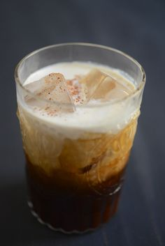 iced mexican coffee (chocolate syrup, coffee liqueur, brandy, dark rum or almond-flavored liquor, heavy cream, & ground cinnamon)
