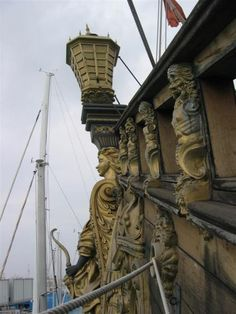 """Gilded Carvings at Stern""""The Neptune"""" Genova, Italy. Made for the 1986 Movie; Nautical Craft, Roman Polanski, Jolly Roger, Tall Ships, Neverland, Pirates, Boats, Transportation, Sci Fi"""