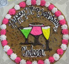 Ladies Night or a Birthday Party Cookie Cake Designs, Cookie Cakes, Cupcake Cakes, Cupcakes, Cookie Cake Birthday, 21st Birthday Cakes, Birthday Treats, Dessert Ideas, Cake Ideas