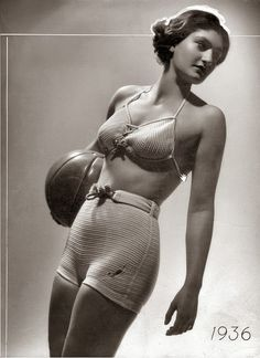 First Bikini, 1936 (Germany?)  * 10 years before the presentation by Louis Réard *  Photographer unknown http://servatius.blogspot.nl/2014/04/first-bikini-1936-netherlands.html