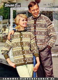 Glåmos 623 pattern by Sandnes Design Norwegian Knitting, Cardigan Design, Fair Isle Knitting, Color Combinations, Knitting Patterns, Nostalgia, Blouse, Crochet, Retro