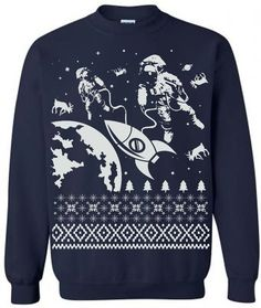 On Sale / Astronauts in Outer Space Ugly Christmas door lastearth