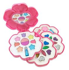 Petite Girls Flower Shaped Cosmetics Play Set - Fashion Makeup Kit for Kids by Petite Girls. $13.95. Flower Shaped Cosmetics Play Set - Fashion Makeup Kit for Kids Make-up palette that swivels into a compact flower carrying case. Everything a little girl needs for her very own makeup kit! Includes Glitter Makeup, Nail Polish, Makeup Case, Mirror, Blush and more! Safety tested, non-toxic and washable. Ages 5 and Up. Save 13% Off!