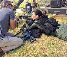Bridget Regan doing some sniper work behind the scenes of The Last Ship