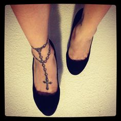 Foot/ankle tattoo: I love the idea on how the rosary crosses per the ankle like that, just have the cross a little off center to make it more realistic