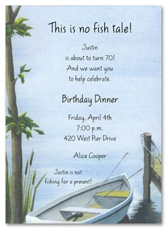 Fishing Party Invitation Fishing equipment on old stained paper