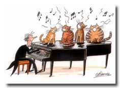 Four cats and a piano Music Jokes, Music Humor, Art Carte, Image Chat, Illustration Art, Illustrations, Cats Musical, Cat Art, Photo Art