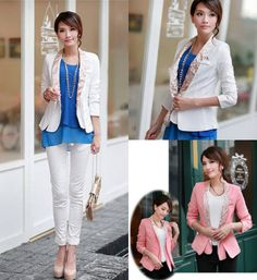 Stylish OL Style Printed Patch Pocket Long Sleeve Trendy Blazer #cute #work #outfit