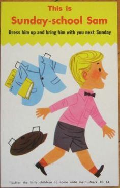 1950 Rally Day Sunday School Postcard w Paper Doll Boy | eBay