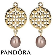 Pandora 14ct Rose Pearl Disc Earring Charms 79314