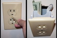 Electrical outlet hidden wall safe.