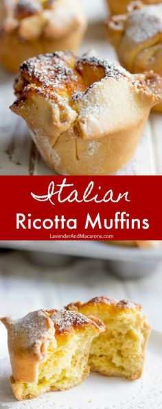 These homemade Italian Ricotta Muffins are so fluffy, easy to make and absolutely delicious! Thanks to a sweet Ricotta cream that fills the muffin, this small dessert tastes incredible and ideal for breakfast, brunch or Christmas baking. Italian Breakfast, Low Carb Breakfast, Breakfast Ideas, Breakfast Recipes, Ricotta Dessert, Desserts With Ricotta Cheese, Ricotta Recipes Healthy, Delicious Desserts, Dessert Recipes