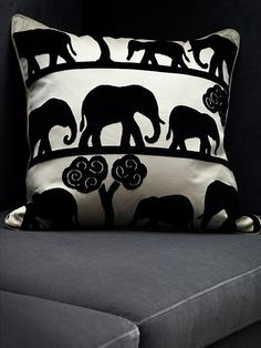 Placement in Image: Cushion Design Name: Jumbo Colour: Ecru/ebony Width: 140 cm Repeat: 43 cm Composition: Cotton, Viscose Pattern Book: Circus Price: Bed Pillows, Cushions, Pattern Books, Soft Furnishings, Repeat, Composition, Elephant, Weaving, Yard