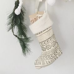 shearling cuffed African Mudcloth Christmas stocking