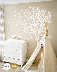"""White Tree Wall Decals - Nursery Wall Decal - Large Kids Room Wall Decor Wall mural sticker  - Large: approx 79"""" x 85"""" - KC004 by WallConsilia on Etsy https://www.etsy.com/listing/215945874/white-tree-wall-decals-nursery-wall"""