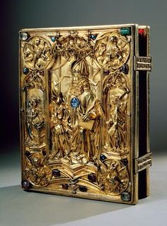 ✯ The Vienna Coronation Gospels represent one of the most Beautiful Manuscripts of the Middle Ages and a Major Work of Court Art at the time of Charlemagne. The book consists of 236 Purple-dyed Vellum Leaves with text written in Gold and Silver Ink ✯ Antique Books, Vintage Books, Kunsthistorisches Museum Wien, Four Gospels, Medieval Books, Vanitas, Dark Ages, Book Binding, Illuminated Manuscript