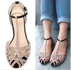 ZARA Summer women sandal heels flats Rhinestone wedding dresses flip flops sandals women's size 40 spring 2014 women shoes fashion  $23.87