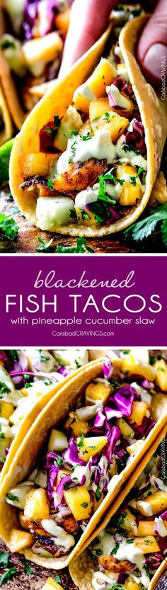 Mind blowing Blackened Fish Tacos with a quick marinade and the most flavorful spice rub! These are hands down the BEST FISH TACOS ever! And the sweet and tangy Pineapple Cucumber Slaw and Avocado Crema hit this one out of the park! seriously better than my favorite restaurant! via @carlsbadcraving
