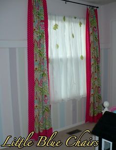 Remodelaholic | Girls Room Makeover With Striped Walls...I like the dotted fabric with the curtain.