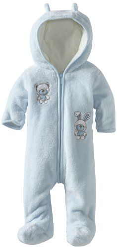 Absorba Baby Fuzzy Footie, Blue, 0-3 Months - Boys blue fuzzy footies Product Features  100% cotton Front snap closure