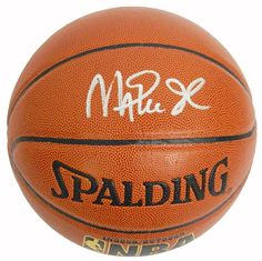 f71bff8f85b Athlon Magic Johnson Signed Spalding NBA Indoor & Outdoor TB Basketball -  Signatures - Gold Logo - Los Angeles Lakers - Silver, As Shown