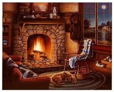 Image Result For Christmas Cabin Fireplace Scenes I Love These - Christmas cabin fireplace scenes