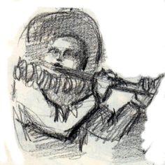 """DIBUJO: Lápiz - """"Flautista"""""""