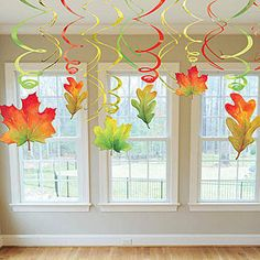 Add these festive Fall swirl leaves hanging from ceilings, doorways and more! Ea… Add these festive Fall swirl leaves hanging from ceilings, doorways and more! Each package contains six – leaf danglers and six green, gold and red twirls. Autumn Crafts, Autumn Art, Autumn Leaves, Red Leaves, Autumn Harvest, Diy And Crafts, Crafts For Kids, Paper Crafts, Decoration Creche