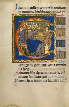 """""""Initial C: David Playing Bells,"""" Master of the Ingeborg Psalter, after 1205. Tempera colors and gold leaf on parchment. J. Paul Getty Museum 