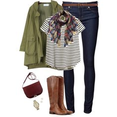 Anorak jacket, striped top & plaid scarf by steffiestaffie on Polyvore featuring polyvore, fashion, style, H&M, Naked & Famous, Sole Society, Michael Kors and Henri Bendel