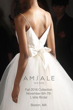 Amsale Fall 2016 Bridal Trunk Show Nov 6th- Nov 8th | L'elite Boston 14 Newbury St | 617.424.1010 | All showings by appointment