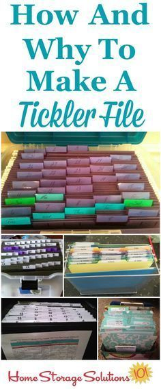 How and why to create a tickler file to organize paperwork, including lots of examples and variations submitted by readers who got their papers organized {on Home Storage Solutions 101}