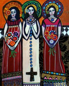 Mexican Folk Art Angels Print Poster Painting Heather Galler Gift Primitive Art