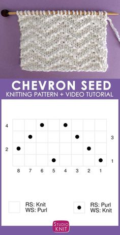 Knitting Chart to Knit the Chevron Seed Stitch Pattern with Studio Knit. knitting for beginners knitting ideas knitting patterns knitting projects knitting sweater Beginner Knitting Patterns, Knitting Stiches, Knitting Charts, Knitting Projects, Knitting Ideas, Sock Knitting, Vogue Knitting, Knitting Tutorials, Knit Stitches