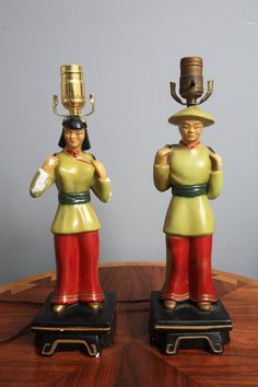 Pair of vintage Asian Chalkware Lamps Atomic Mid Century Decor, Mid Century House, Vintage Lampshades, Chinese Figurines, Cool Lamps, Mid Century Lighting, Vintage Carnival, Flea Market Finds, Art Decor