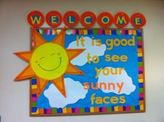 Resultado de imagen de back to school bulletin boards for kindergarten Welcome Bulletin Boards, Christian Bulletin Boards, Summer Bulletin Boards, Classroom Bulletin Boards, Classroom Door, Preschool Welcome Board, Welcome Back Boards, September Bulletin Boards, Health Bulletin Boards