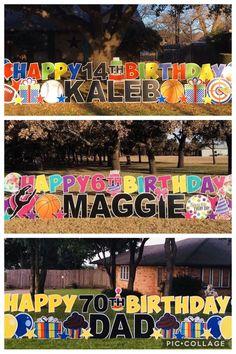 Birthday Yard Signs, Dad Birthday, Yard Art, Party Planning, Graham, Holiday, Christmas, Birthdays, Baby Shower