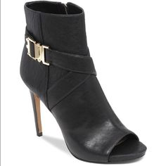 """100%Authentic VINCE CAMUTO Fruell Open Toe Booties Price Firm: Brand-new never been worn: VINCE CAMUTO Fruell Open Toe Dress Booties Size 8 1/2 COLOR: Black: Leather upper, synthetic lining, manmade sole Imported Open toe; functional inside zip 4"""" heel 5.25"""" shaft height Vince Shoes"""