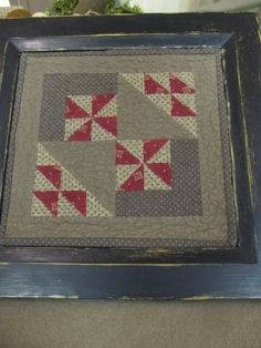 """Luthers Landing"" ~ framed quilt block / Since it's under glass, a piece like this could also be used as a tray."