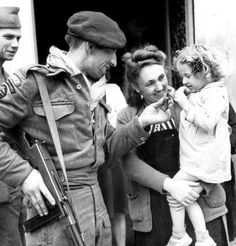 French villagers welcome French Commandos from No. 10 (Inter-Allied) Commando. Calvados, June 1944